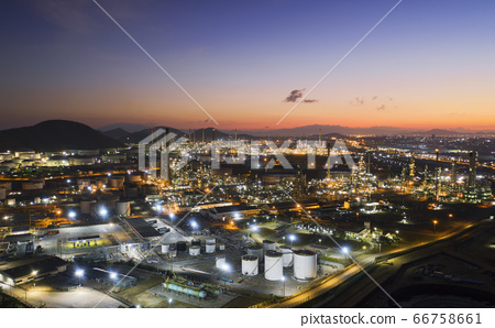 Aerial view oil storage tank with oil refinery 66758661