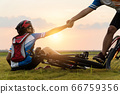 Woman riding mountain bike was accident crashed 66759356