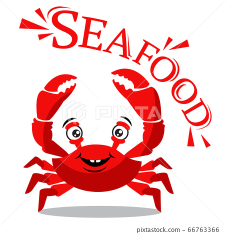 Funny red crab cartoon with text for seafood 66763366