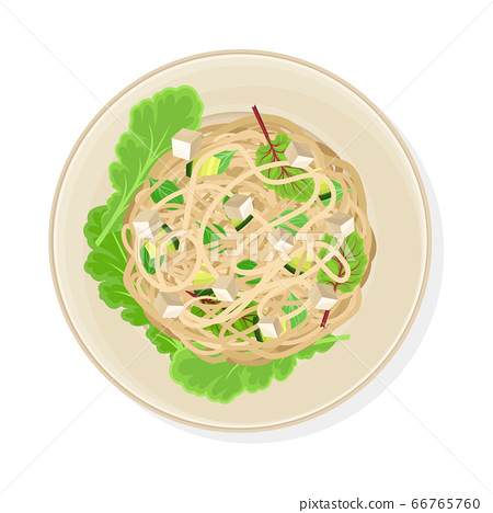 Thai Main Course with Noodles and Soft Cheese Top View Vector Illustration 66765760