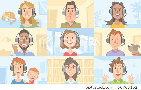 人們在互聯網上聊天。遠程辦公和遠程工作的形象。 66766102