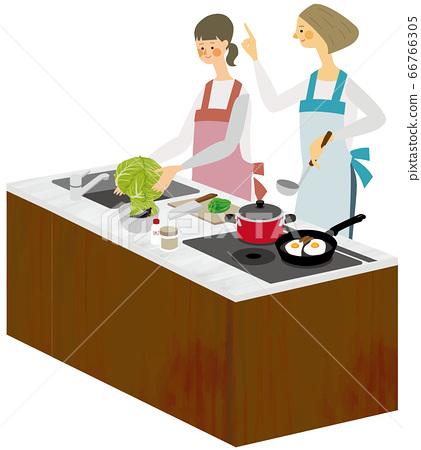 烹飪與父母和孩子的烹飪插圖 66766305