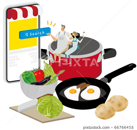 一對夫婦騎著炊具並使用烹飪應用程序 66766458
