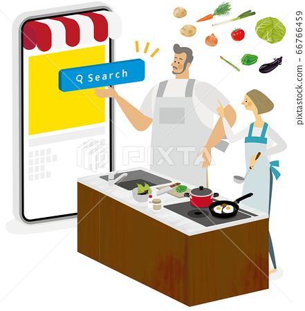 一對夫婦在廚房裡使用烹飪應用程序 66766459