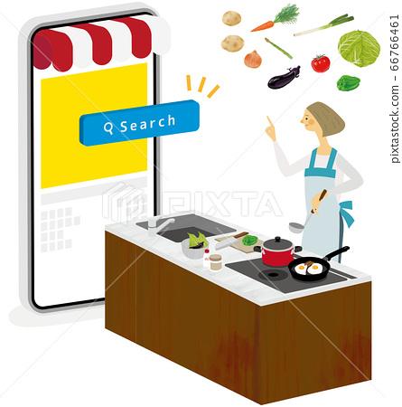 주방에서 요리 응용 프로그램을 사용하는 여성 66766461