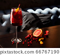 Glass of aperol spritz cocktail on wooden table in 66767190