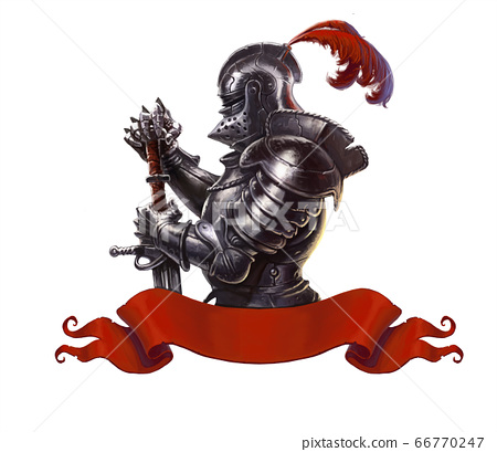 Medieval knight with long sword realistic isolated. Knight in a long red cloak and medieval armor and with a long sword. 66770247