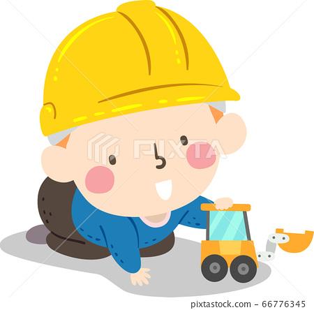 Kid Baby Boy Hard Hat Play Toy Illustration 66776345