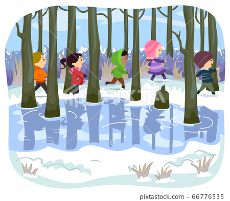 Stickman Kids Swamp Winter Hike Illustration 66776535