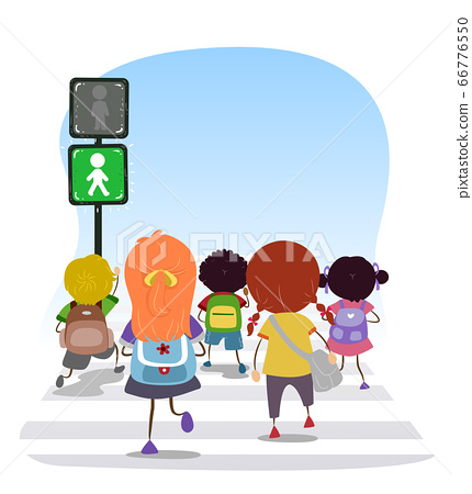 Stickman Kids Traffic Light Go Illustration 66776550