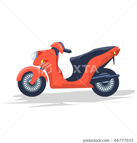Empty delivery courier motorcycle or scooter. Flat and solid color cartoon style vector illustration. 66777035