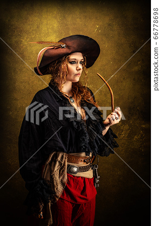 Portrait of a privateer in profile, smoking a pipe 66778698