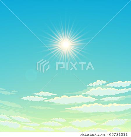 Sky, cloudy day And the sun shining. Vector Sky 66781051
