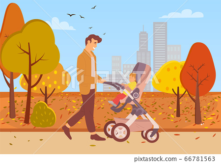 Father Walking with Kid in Buggy in Autumn Park 66781563