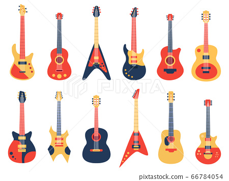 Musical guitar. Acoustic, electric rock and jazz guitars, retro strings guitars, music band instruments vector illustration set 66784054