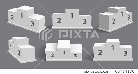 Winner podium. Realistic spotlight pedestal, stand stage. First, second, third place rewarding. Winners pedestal mockup vector illustration set 66784170