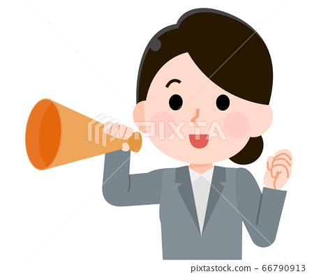 一位女性上班族穿著西裝用擴音器歡呼的插圖 66790913