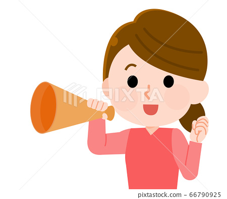 一個女人用擴音器歡呼的插圖 66790925