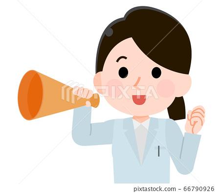 一位女醫生用擴音器歡呼的插圖 66790926