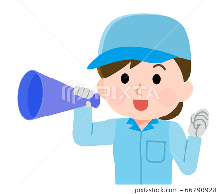 歡呼與擴音器的女工02的插圖 66790928