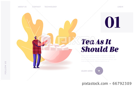 Man Serving Table for Guests Coming Website Landing Page. Happy Male Character Holding Cube of Refined Sugar Prepare for Tea Coffee Party with Friends Web Page Banner. Cartoon Flat Vector Illustration 66792389