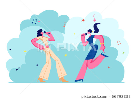 Happy Female Characters Cheerfully Singing Songs in Karaoke Bar, Young Girls Company with Microphones Performing on Party 66792882