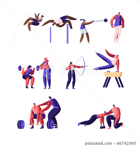 Professional Sport Activities Set. Male and Female Sportsmen Characters Workout. High Jump, Vaulting Horse, Pole Jumping 66792995