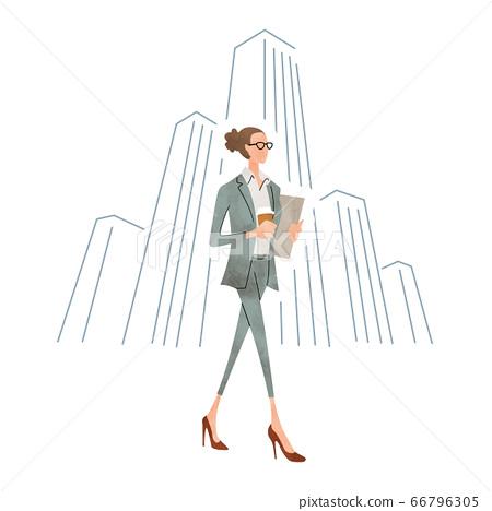 插圖素材:商業場景,年輕女子 66796305