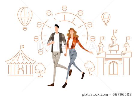 插圖素材:手拉手走年輕的夫婦 66796308