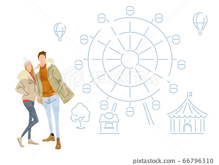 圖庫插圖:一對年輕夫婦來到冬季遊樂園 66796310