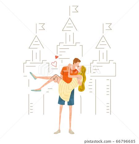 圖庫插圖:年輕情侶接吻 66796685