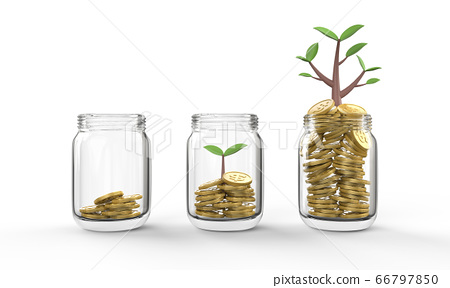 Business Finance Investment Growth and saving money concept in clear Bottles on isolated White Background, 3D illustration. 66797850