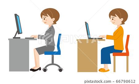 在桌子上的白色電腦上工作的女人的插圖/白色背景 66798612