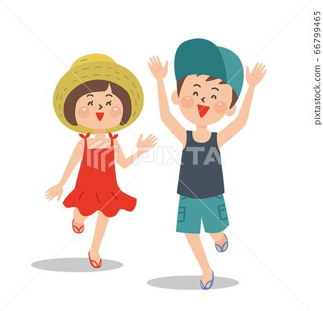 開朗的孩子,在夏天的衣服,戴著帽子 66799465
