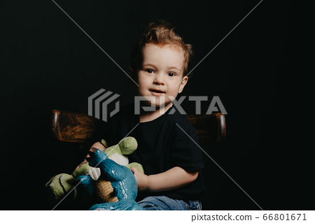 portrait of a Caucasian child boy playing with dinosaur toys 66801671