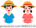 Boys and girls wearing straw hats 66802216