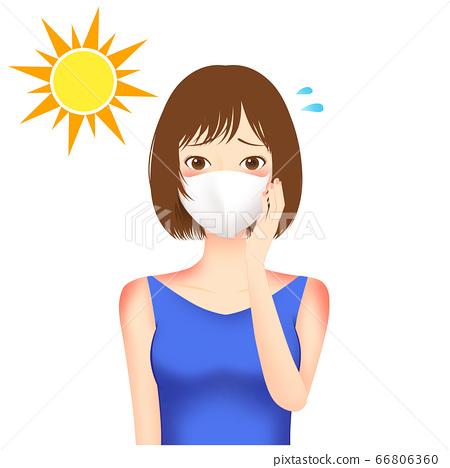 마스크 자외선 고민하는 여성 일러스트 66806360