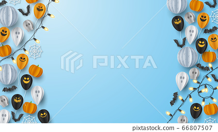 Happy Halloween banner greeting card background in paper cut style. Vector Illustration 66807507