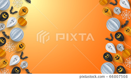 Happy Halloween banner greeting card background in paper cut style. Vector Illustration 66807508