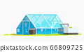 greenhouse on grass on white 66809725