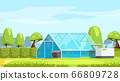 greenhouse in beautiful nature landscape 66809728