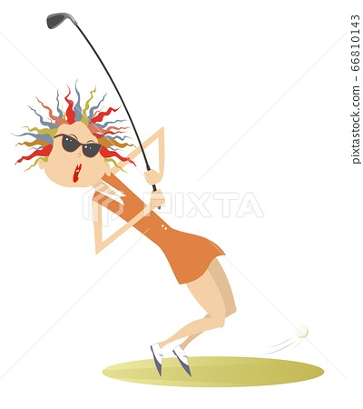 Young golfer woman on the golf course illustration. Cartoon golfer woman aiming to do a good kick isolated on white 66810143