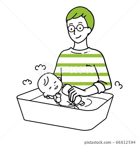 아기의 목욕을하는 남성 66812594