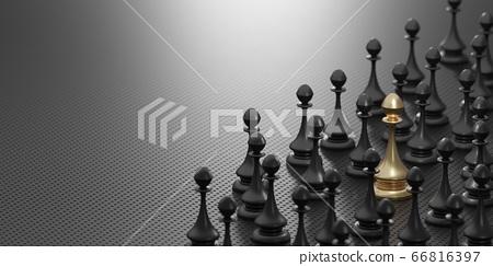 黑色棋子中的金色棋子 66816397