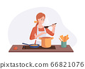 Smiling chef cooking on kitchen table. Wife cooked soup and tastes it with a spoon. Vector illustration home concept preparing homemade meals for dinner 66821076