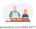 Grandmother and granddaughter couple cooking dinner at the table in the kitchen. Cartoon character concept preparing meals at home in flat style. Vector illustration 66821077