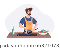 Chef cooking dinner at the table in the kitchen. Cartoon character concept preparing meals at home in flat style. Vector illustration 66821078