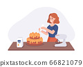 Smiling girl a dish cake on kitchen table. Woman in the kitchen preparing homemade meals for dinner. Vector illustration cooking at home concept 66821079