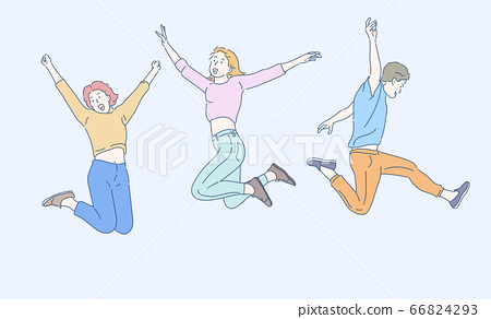 Happy young people jumping. Cheerful people celebrating success.  Hand drawn in thin line style, vector illustrations. 66824293