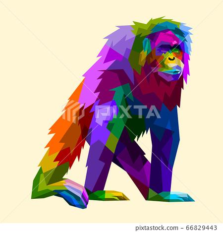 colorful orangutan in geometry pop art style 66829443